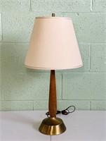 "Wood/Brass Lamp w/Shade, 25"" high"