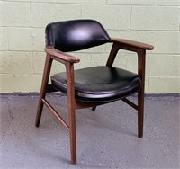 Mid Century Office Chair, Wood w/ Black Vinyl Seat