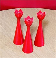 Swedish Wooden Turned Tulip Candle Stick Holders,