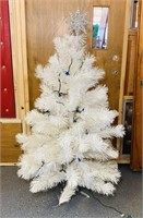 Vintage White Christmas Tree w/Blue Lights
