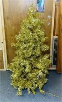 "Vintage Gold Christmas Tree, pre-lit, 4.5"" high,"