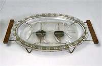 Glasbak glass plate server w/ candle warming stand