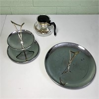 Silver colored severs and Coffee Pot