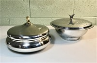 2 Chrome Serving Bowls