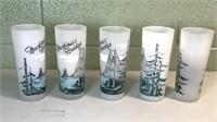 5 Vintage Mackinaw Bridge frosted glasses.