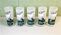 5 Vintage Soo Locks frosted glasses