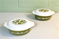 Pair of avocado daisy Pyrex casserole dishes