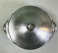 Pyrex serving dish with hammered aluminum holder