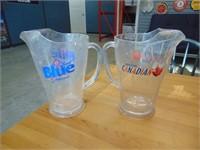 Molson Canadian / Labatt Blue Beer Pitchers