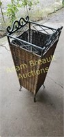 Decorative wrought iron wicker plant stand, 9 x 9