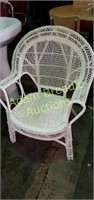 Vintage white wicker 35 inch chair