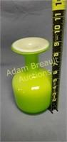 Neon green glass 9 in flower vase