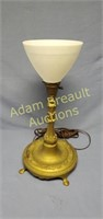Vintage 21 in cast table lamp with milk glass