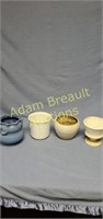 4 assorted pottery and Porcelain planters