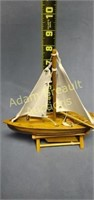7.5 in wooden sailboat with stand