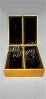 Satinwood felt-lined storage box, 11.5 x 11.75 x