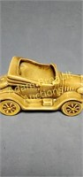 Vintage glazed Pottery car planter, 9-inch