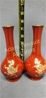 Vintage Korean lacquer 7.5 inch flower vases