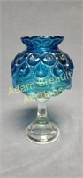 Vintage 8 in Blue Glass candle compote