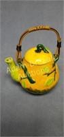 Vintage 4 in porcelain orange teapot