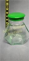 Vintage 8 in hexagon glass screw top candy jar