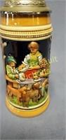 Western Germany pewter top 9 inch beer stein