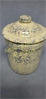 5 in blue and white spatter stoneware crock, no