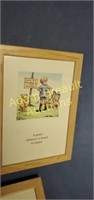 5 framed Winnie the Pooh wall hangings