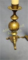 2 brushed bronze cast aluminum candelabras