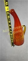 Vintage 12 in red and yellow crackle glass