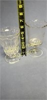 Two vintage Spooner stemmed glass tumblers