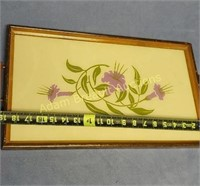 Vintage wooden glass top 19 in serving tray