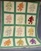 Vintage custom made Mickey Mouse lap quilt, 40x