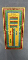 Vintage Cardinal wooden cribbage board with pegs