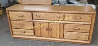 Vintage Oak 9 drawer dresser and mirror