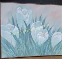 Lee Richards canvas oil paint flower print, 49 x