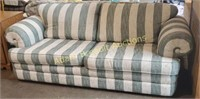 88 in green and cream stripes sofa, good