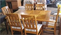 Vintage Oak dining table with six chairs , extra