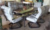 7 piece metal frame patio set with glass top