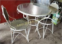 """3 piece wrought iron 30"""" glass top table set,"""