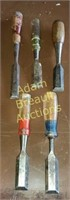 5 assorted hand chisels