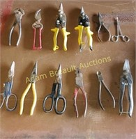 12 pairs assorted tin snips, shears, wire cutters