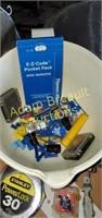 Assorted tools, driver bits, sockets, oil filter