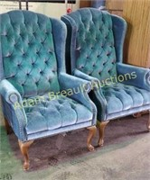 2 blue wood frame 42 inch high back chairs oh,