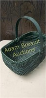 Green wicker basket,  8 x 14 x 8