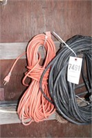 4 ext cords, heavy duty 12-3 outdoor on hose reel