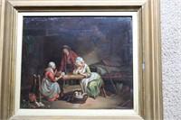Lot of 2 Oil Paintings Old Scene