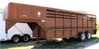 """1975 S & H Stock, 2-axle, gn, 6' 4"""" x 20', 1-divider gate, rear gates also swing inward, (view 1)"""