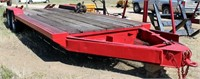 """1984 HMD Flatbed, dove tail w/ramps, 2-axle, bumper-pull, pintle hitch, 8' 6"""" x 20' 6"""", floor needs repair (view 1)"""