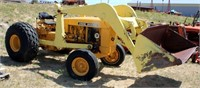 JD 301C, 3-cyl gas eng, 3-pt, pto, FE loader non operable, runs, SN: plate missing, view 1